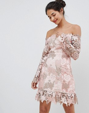 photo Bardot Tonal Lace Mini Dress by Elliatt, color Tonal Blush - Image 1