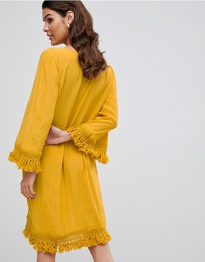 photo Tassel Detail Smock Dress by Y.A.S, color Yellow - Image 2