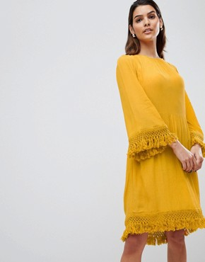 photo Tassel Detail Smock Dress by Y.A.S, color Yellow - Image 1