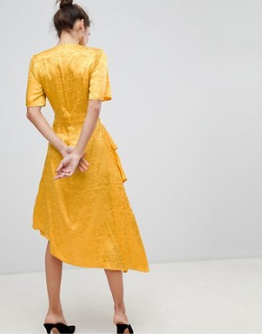 photo Satin Floral Wrap Dress by Y.A.S, color Yellow - Image 2