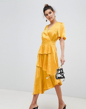 photo Satin Floral Wrap Dress by Y.A.S, color Yellow - Image 1