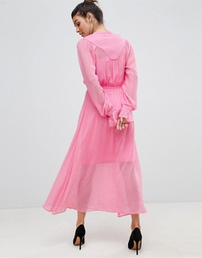 photo Tie Neck Chiffon Spot Maxi Dress by Y.A.S, color Pink - Image 2