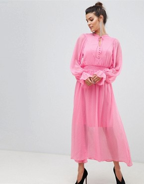 photo Tie Neck Chiffon Spot Maxi Dress by Y.A.S, color Pink - Image 1