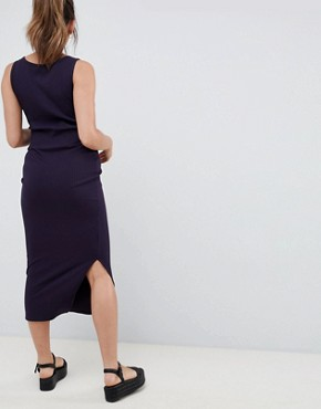 photo Rib Maxi Dress by New Look Maternity, color Navy - Image 2