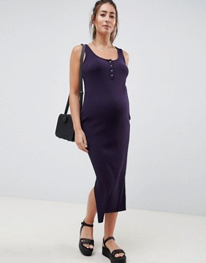 photo Rib Maxi Dress by New Look Maternity, color Navy - Image 1