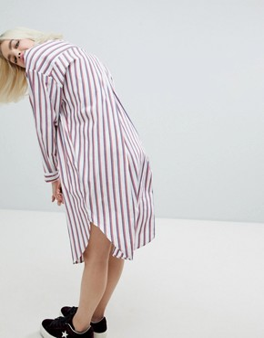 photo Oversized Stripe Shirt Dress by Monki, color Red Blue White - Image 2