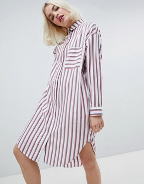 photo Oversized Stripe Shirt Dress by Monki, color Red Blue White - Image 1