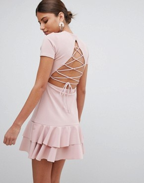 photo Lace Up Back Detail Frill Hem Dress by PrettyLittleThing, color Pink - Image 1