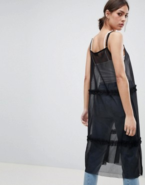 photo Leza Mesh Tiered Maxi Dress by Pieces, color Black - Image 2