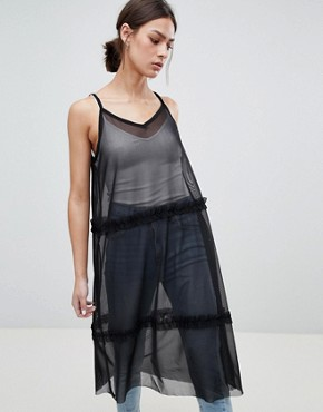 photo Leza Mesh Tiered Maxi Dress by Pieces, color Black - Image 1