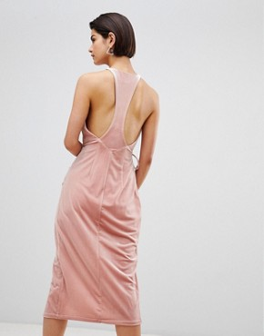 photo Velvet Wrap Dress by Forever Unique, color Light Pink - Image 2