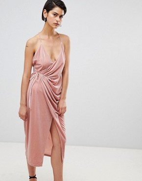 photo Velvet Wrap Dress by Forever Unique, color Light Pink - Image 1