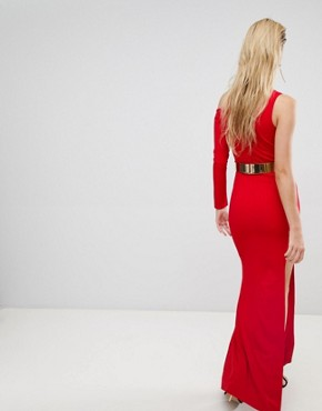photo Cut Out Sleeve One Shoulder Maxi Dress by Forever Unique, color Olive/Red - Image 2