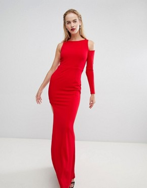 photo Cut Out Sleeve One Shoulder Maxi Dress by Forever Unique, color Olive/Red - Image 1