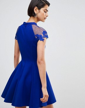 photo Skater Dress with Shoulder Detail by Forever Unique, color Sax Blue - Image 2