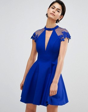 photo Skater Dress with Shoulder Detail by Forever Unique, color Sax Blue - Image 1
