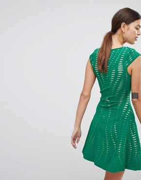 photo Textured A-Line Dress by Forever Unique, color Green - Image 2
