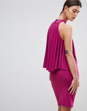 photo Ruffle Halter Neck Dress by Forever Unique, color Magenta - Image 2