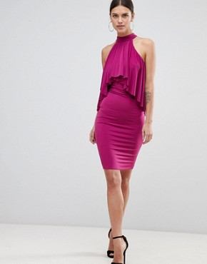 photo Ruffle Halter Neck Dress by Forever Unique, color Magenta - Image 1