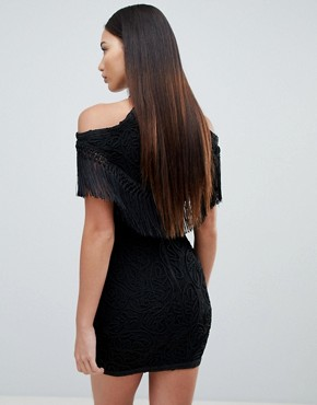 photo Embellished Cold Shoulder Dress by Forever Unique, color Black - Image 2