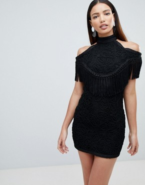 photo Embellished Cold Shoulder Dress by Forever Unique, color Black - Image 1