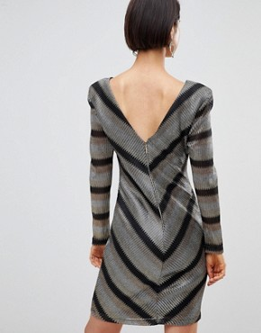 photo Chevron Shift Dress by Forever Unique, color Silver/Gold - Image 2
