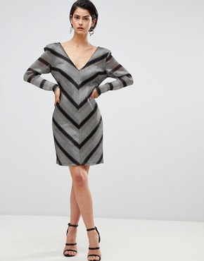 photo Chevron Shift Dress by Forever Unique, color Silver/Gold - Image 1