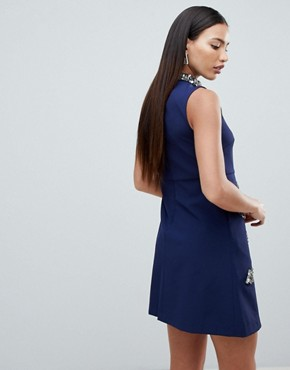 photo Embellished Swing Dress by Forever Unique, color Navy - Image 2