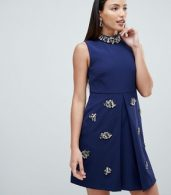 photo Embellished Swing Dress by Forever Unique, color Navy - Image 1