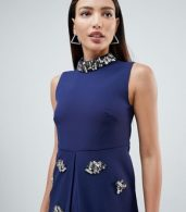photo Embellished Swing Dress by Forever Unique, color Navy - Image 3