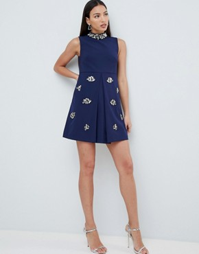 photo Embellished Swing Dress by Forever Unique, color Navy - Image 4