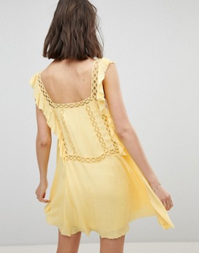 photo Cut Work Mini Dress by Free People, color Yellow - Image 2