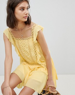 photo Cut Work Mini Dress by Free People, color Yellow - Image 1