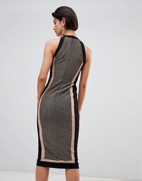 photo Panelled Midi Dress by Forever Unique, color Black/Gold - Image 2
