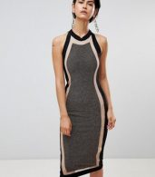 photo Panelled Midi Dress by Forever Unique, color Black/Gold - Image 4