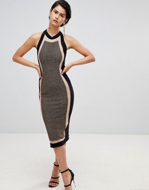 photo Panelled Midi Dress by Forever Unique, color Black/Gold - Image 1
