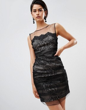 photo Lace Mini Dress by Forever Unique, color Black - Image 1