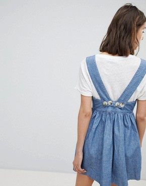 photo Chambray Buttondown Dress by Free People, color Blue - Image 2