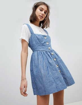 photo Chambray Buttondown Dress by Free People, color Blue - Image 1