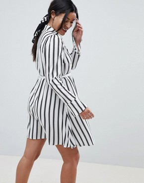 photo Maternity Stripe Long Sleeve Shirt Dress by ASOS DESIGN, color Multi - Image 2