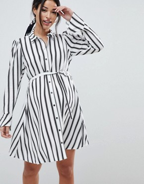 photo Maternity Stripe Long Sleeve Shirt Dress by ASOS DESIGN, color Multi - Image 1