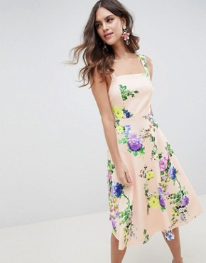photo Midi Floral Prom Dress with Square Neck by ASOS DESIGN, color Multi - Image 1