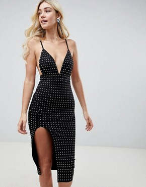 photo Deep V Midi Dress with Side Split & All Over Diamante Embellishment by Club L, color Black - Image 1