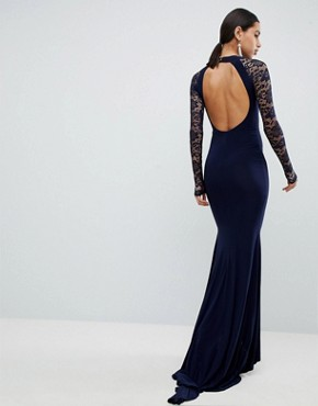 photo Open Back Slinky Fishtail Maxi Dress with Detailed Lace Open Back by Club L, color Navy - Image 2