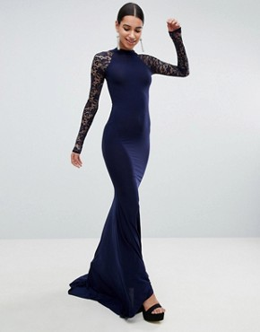 photo Open Back Slinky Fishtail Maxi Dress with Detailed Lace Open Back by Club L, color Navy - Image 1