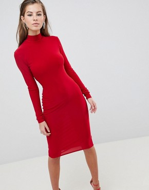 photo High Neck Ruched Detailed Open Back Slinky Midi Dress by Club L, color Red - Image 2