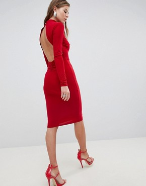 photo High Neck Ruched Detailed Open Back Slinky Midi Dress by Club L, color Red - Image 1