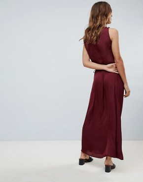 photo Tie Waist Maxi Dress by Sisley, color Red - Image 2