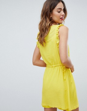 photo Frill Sleeve Mini Dress by Sisley, color Yellow - Image 2