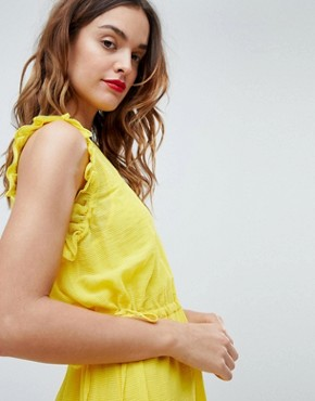 photo Frill Sleeve Mini Dress by Sisley, color Yellow - Image 3